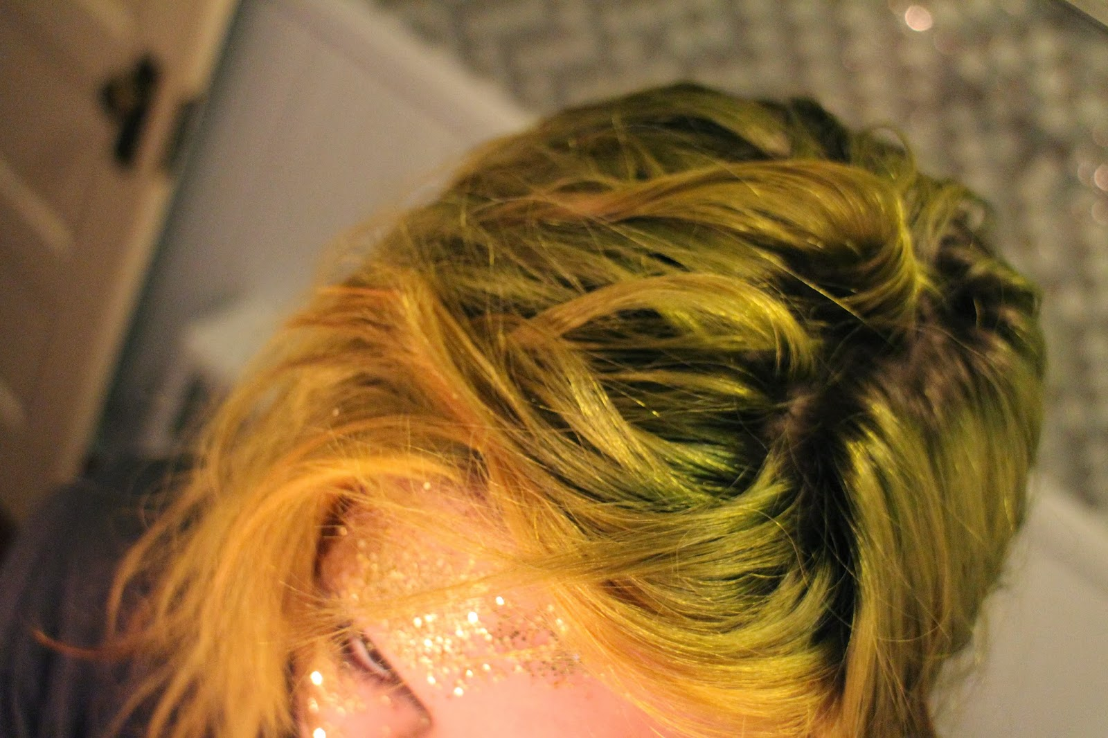two-tone green and yellow hair with dark roots, grunge hair, stuffeddoggie, glitterface makeup. disco-ball face, using glue to put sparkles on face, glitter makeup, halloween, james bond face makeup