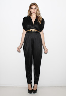 Vintage 1970's black harem style draped disco jumpsuit