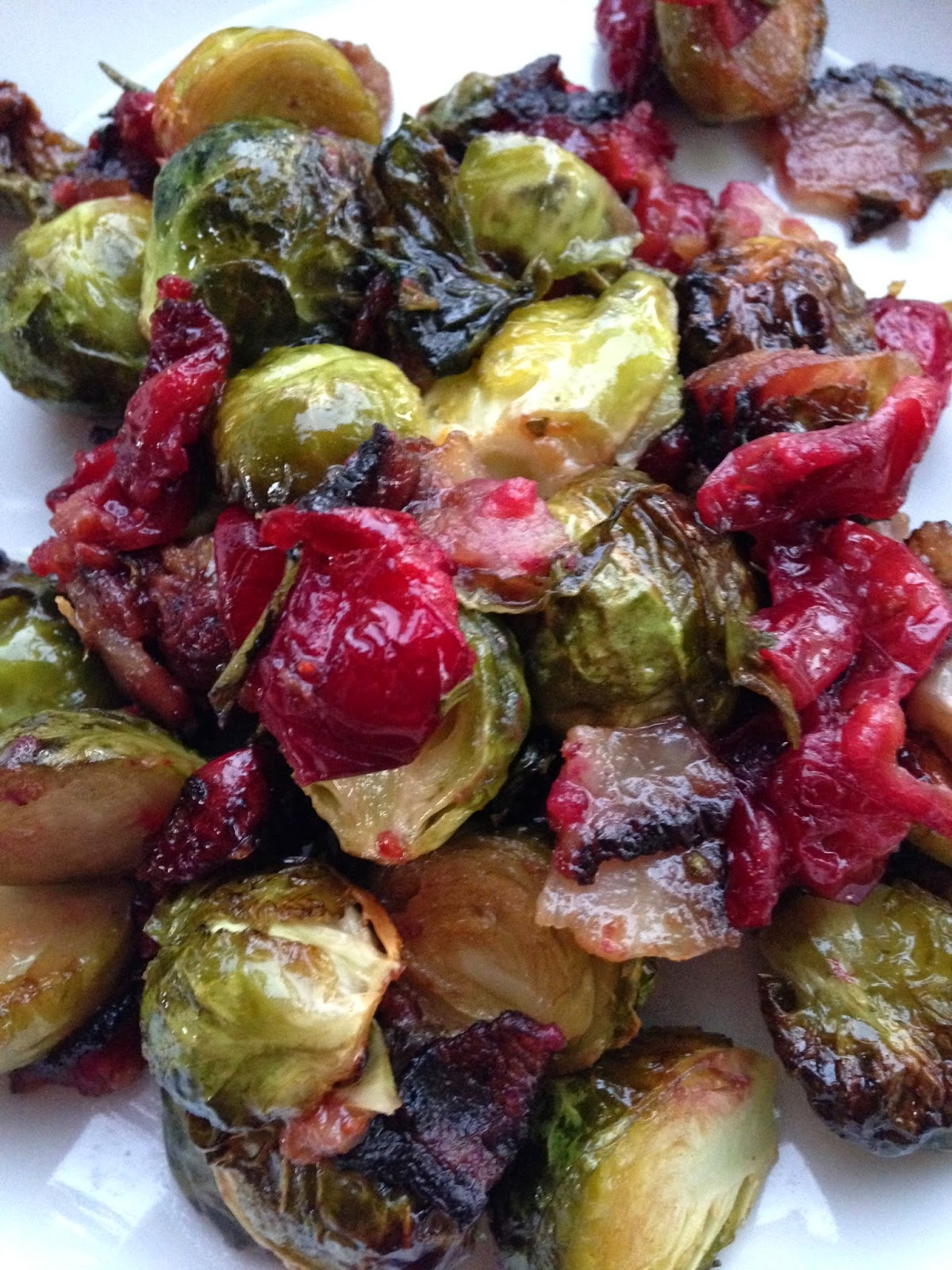 Maple Cranberry Bacon Brussels Sprouts