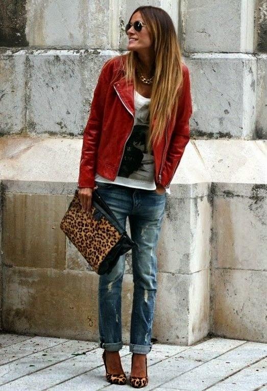 leather jacket animal printed bag