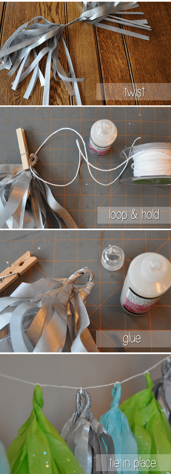 diy tissue paper tassel garlands | by Lorrie Everitt for CreativeBag.com