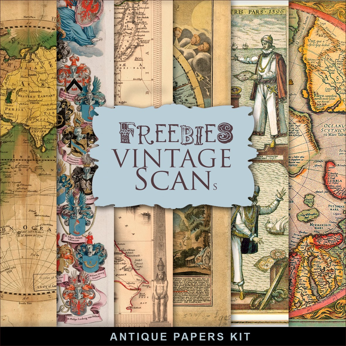 New Freebies Kit of Antique Maps