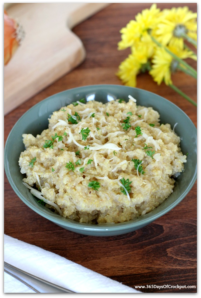 No Stir Slow Cooker Quinoa Risotto is a great side dish or dinner!  So easy and so comforting!
