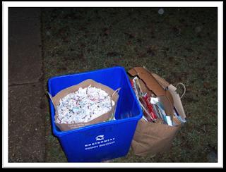 shredded paper in recycling bin