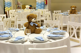 decoracao festa urso marron e azul - festa infantil