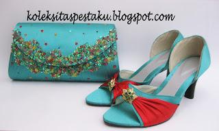 Sepatu Tas Pesta Matching Ijo Tosca Campuran Mix Merah Elegant