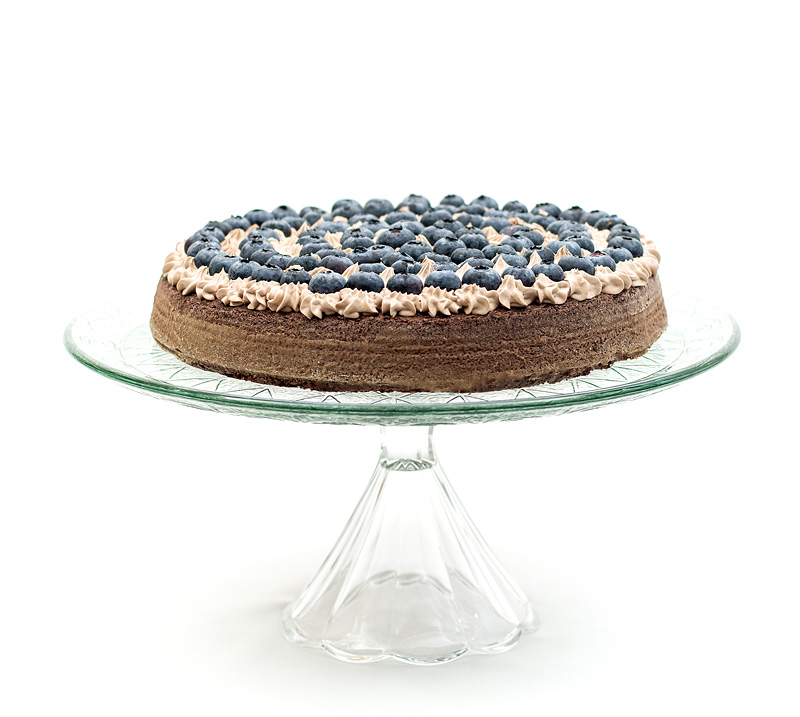 Chocolate blueberry cake front