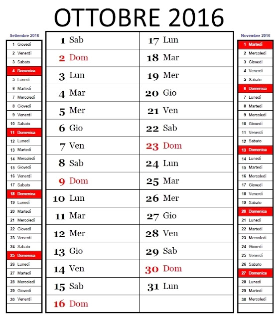 Calendario mensile 2016 - ottobre
