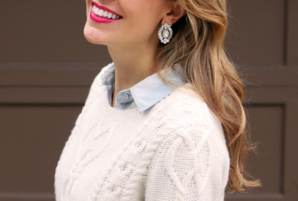 Chunky sweater, chambray & statement earrings