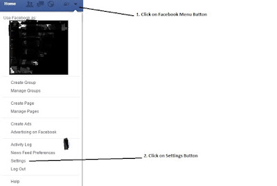 Step 1: Click on facebook menu button, Step 2: Click on settings button