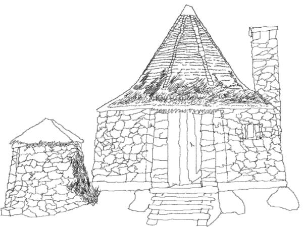 how to draw a easy hut