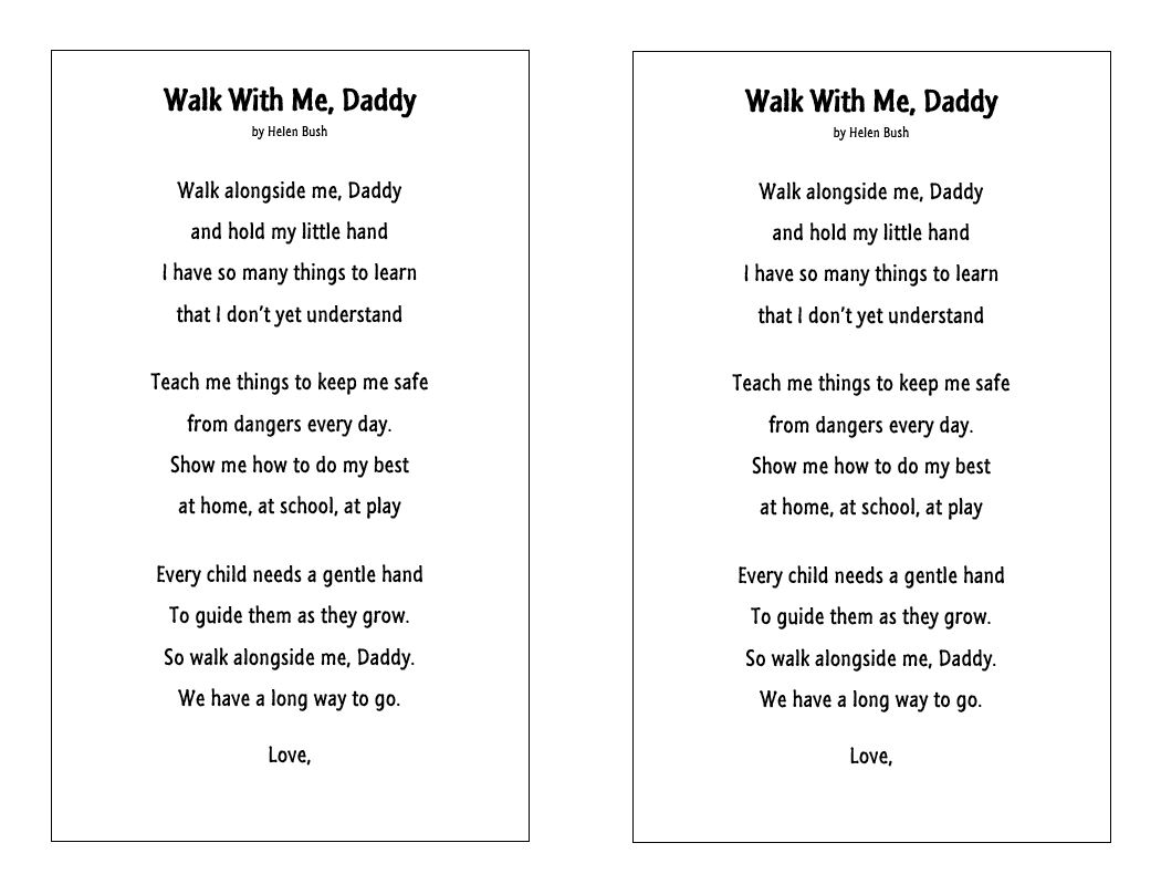 image about Walk With Me Daddy Poem Printable named Karen And Kissable Young children: Fathers Working day printable