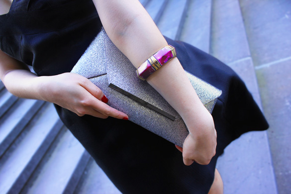 Olga Berg Silver Clutch and Chunky Sportsgirl Purple Bangle