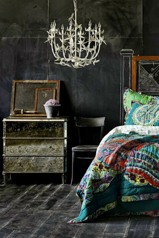 negro dormitorio vintage