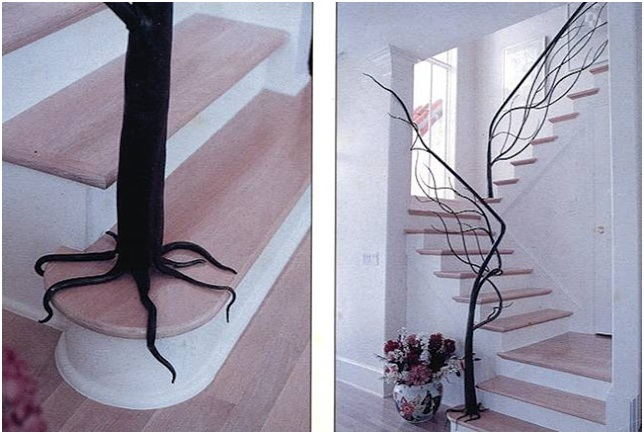 Tree stairway. Very original design of a stair.