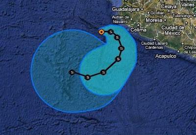 Pazifik aktuell: IRWIN wird vor Mexiko wieder zu einem Tropischen Sturm, Irwin, Pazifik, aktuell, Vorhersage Forecast Prognose, Mexiko, Satellitenbild Satellitenbilder, Verlauf, Zugbahn, Oktober, Hurrikansaison 2011, 2011,