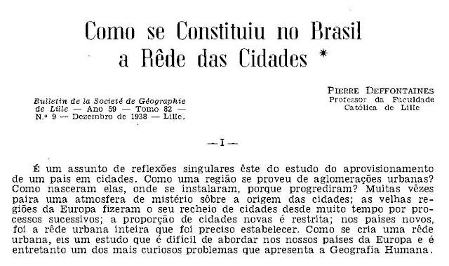 Cabeçalho da primeira parte da edição de 1944 de Como se Constituiu no Brasil a Rede de Cidades