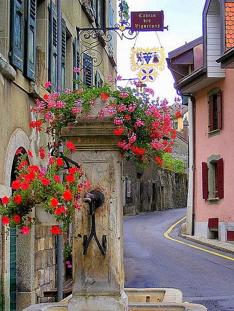 Switzerland - Old fountain in a picturesque village of the vineyards of Lavaux<br>Epesses, Canton de Vaud - Switzerland