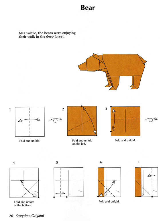 a menagerie of origami beary easy bear rh menagerieoforigami blogspot com 3d origami teddy bear diagram 3d origami bear diagram