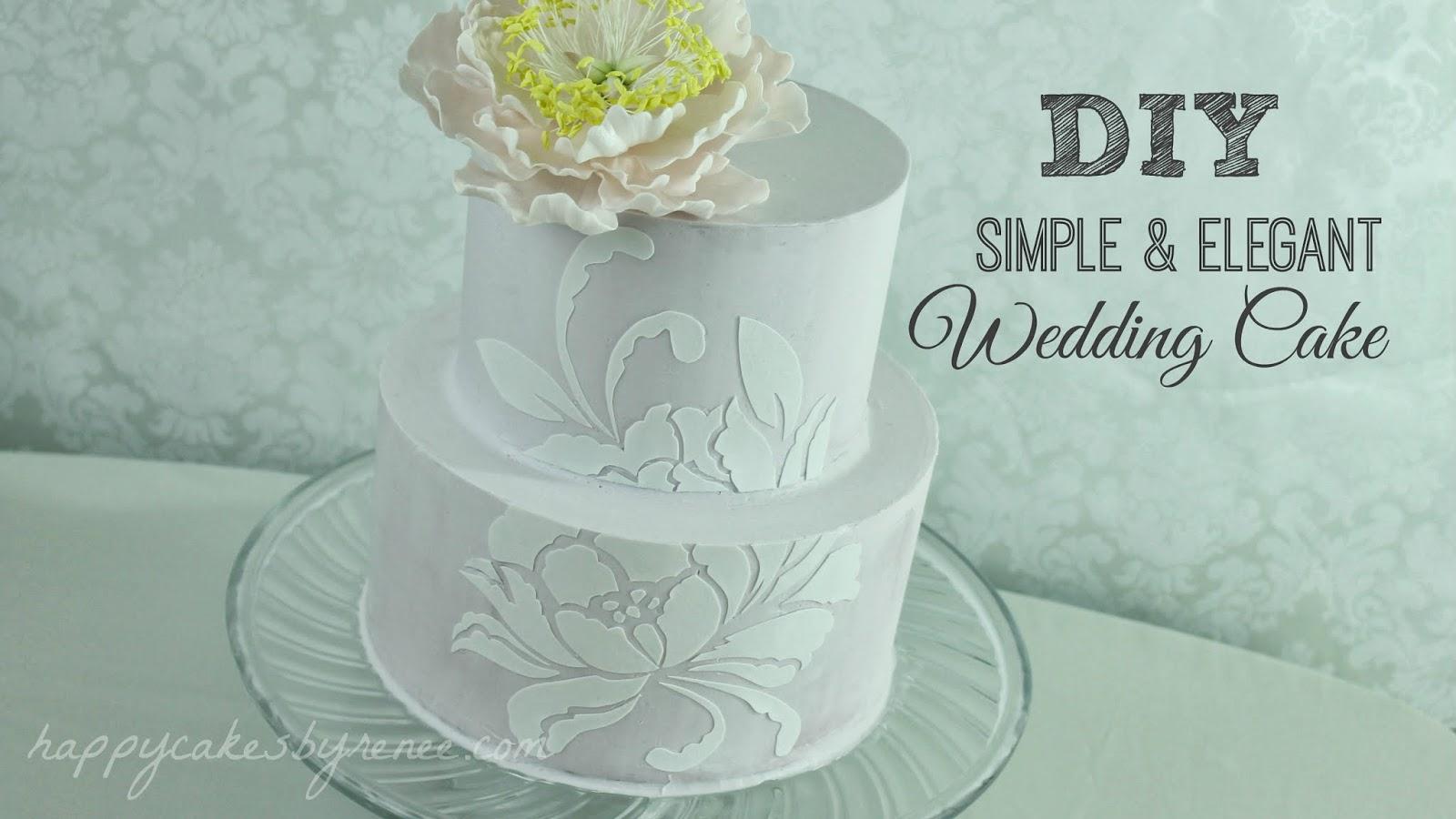 happy cakes bakes diy simple elegant wedding cake. Black Bedroom Furniture Sets. Home Design Ideas