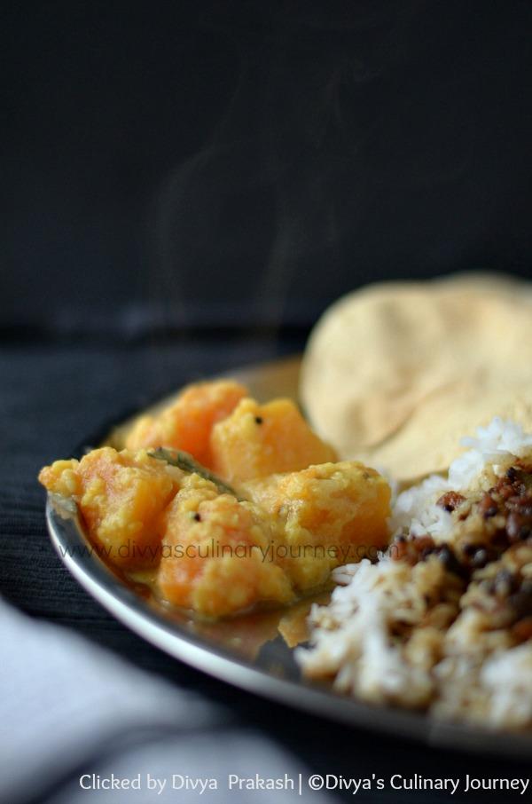 manjal poosanikkai kootu, parangikkai kootu, yellow pumkin recipes