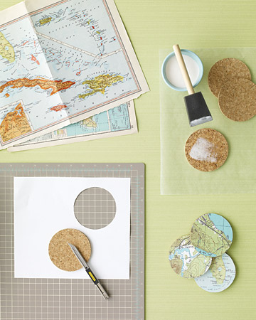 map decoupage coasters