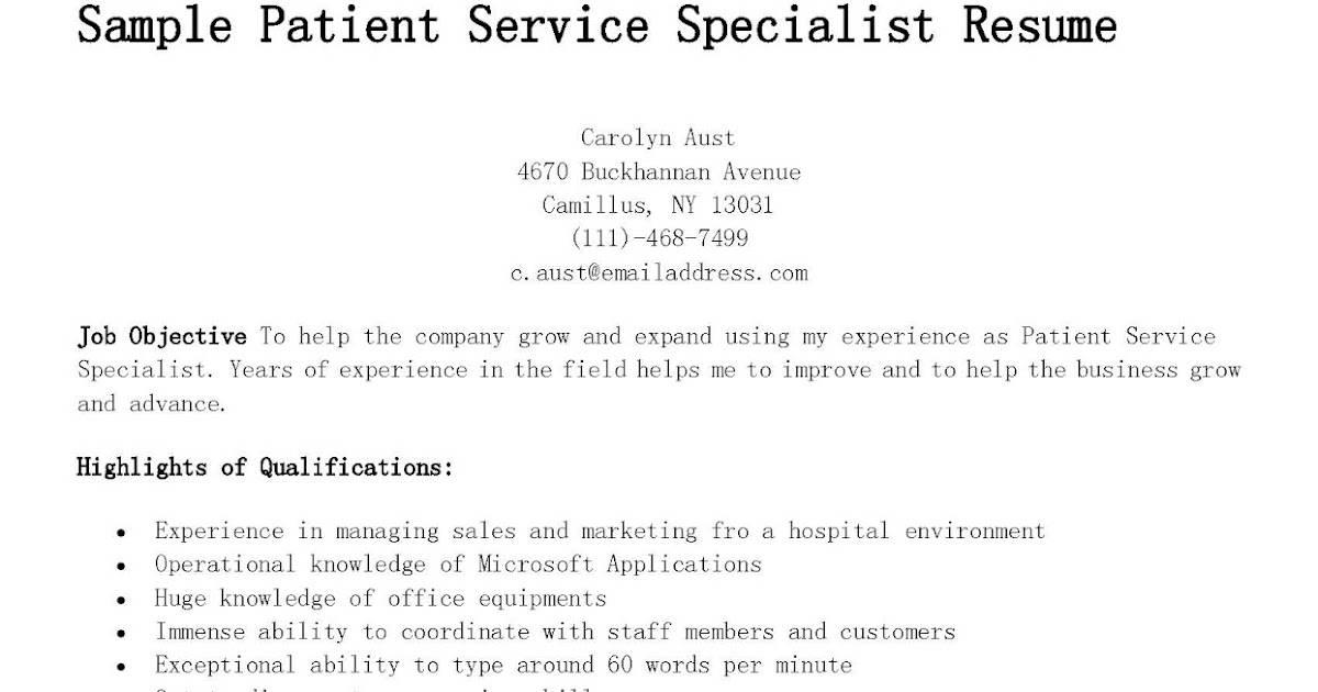 sample patient service specialist resume resume samples