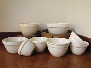 Traditional British pudding bowls or pudding basins, vintage and modern