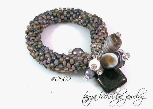 Tanya Lochridge Jewelry Silver Mother-of-Pearl, Rainbow Obsidian, Botswana Agate, Snow Quartz Bangle