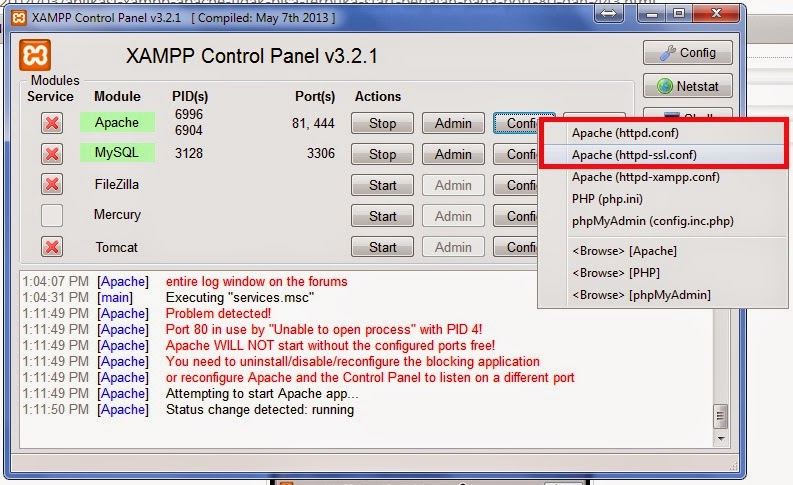 how to change apache port 80 in xampp