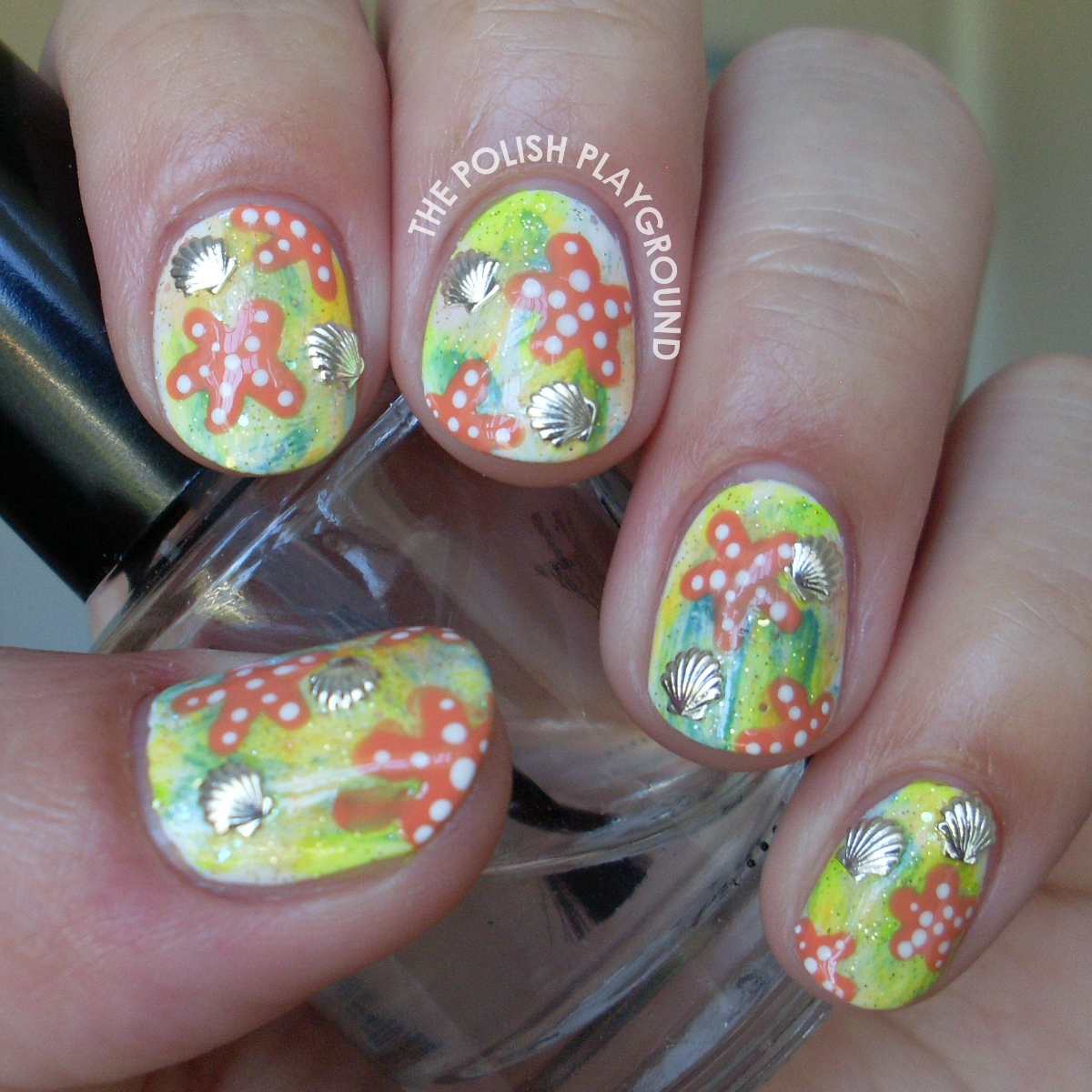 Underwater Beach Adventure Nail Art