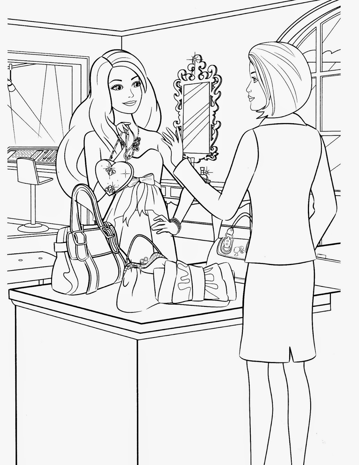 for Barbie in the dream house coloring pages