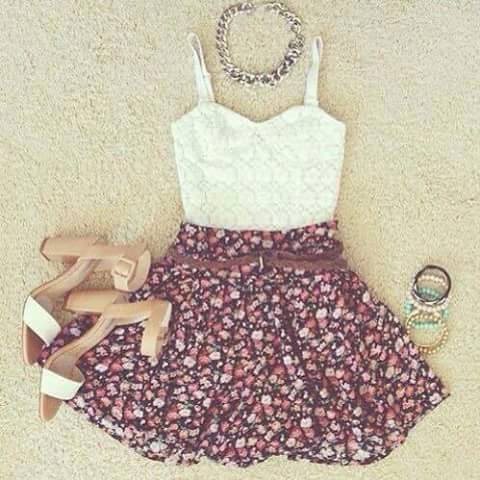 Ankale Strap Heels, Floral Skirt, Crochet Top  | Outfit