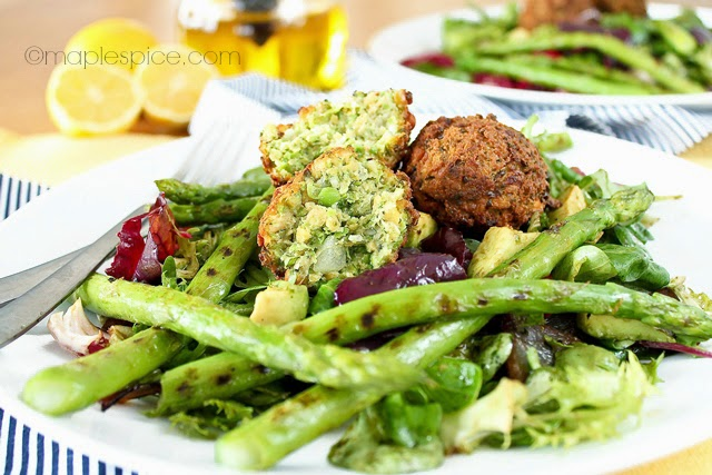 Lemon-Dill Petite Pois Falafel with a Chargrilled Asparagus and Red Onion Salad. Vegan recipe.