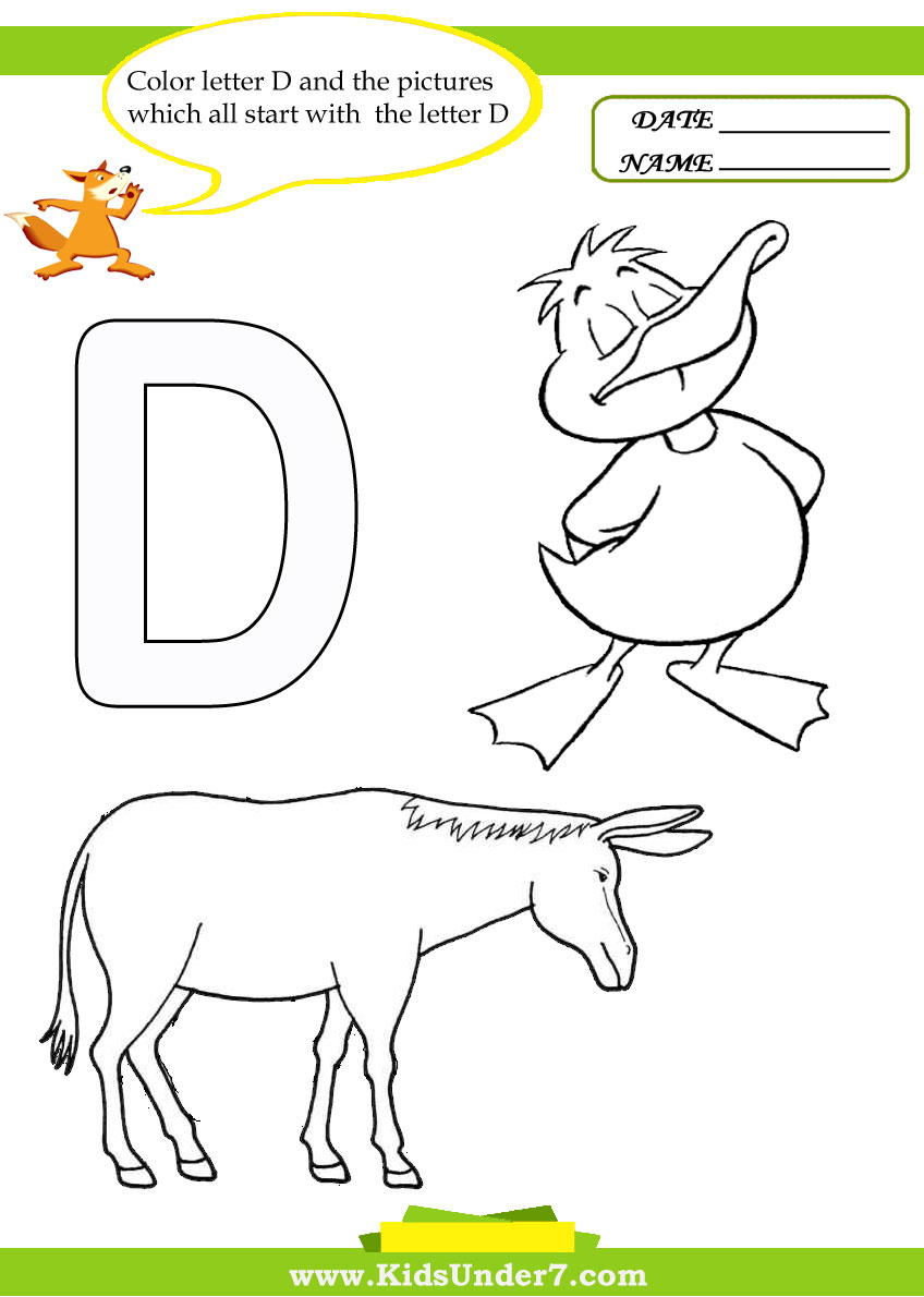 Kids Under 7 Letter D Worksheets and Coloring Pages – Letter D Worksheets Kindergarten