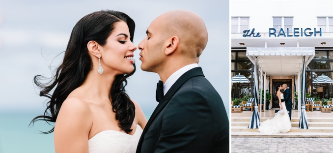 portraits of the bride and groom at the iconic raleigh hotel in south beach