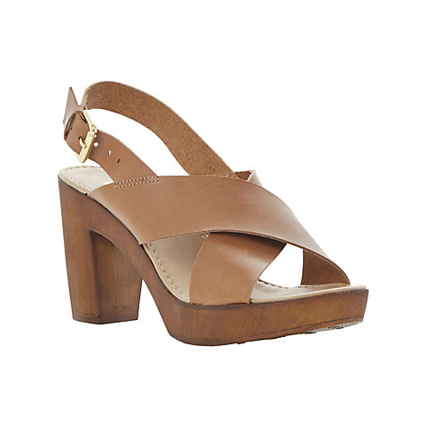 Dune Fraggel Leather Wooden Clog Effect Sandal