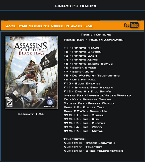 Assassin's Creed IV Black Flag v1.04 Trainer +24 [LinGon]