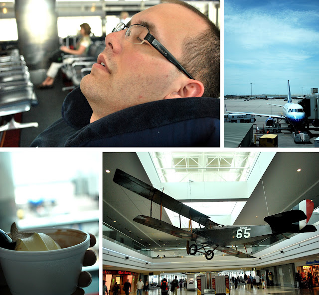 Four photos of the Denver airport. Shane resting at the gate. A small jet, like the one we flew in, parked at a gate. A vintage WWI aircraft suspended from the ceiling of the Denver Airport. A cup of frozen yogurt in front of the window overlooking our airport gate.