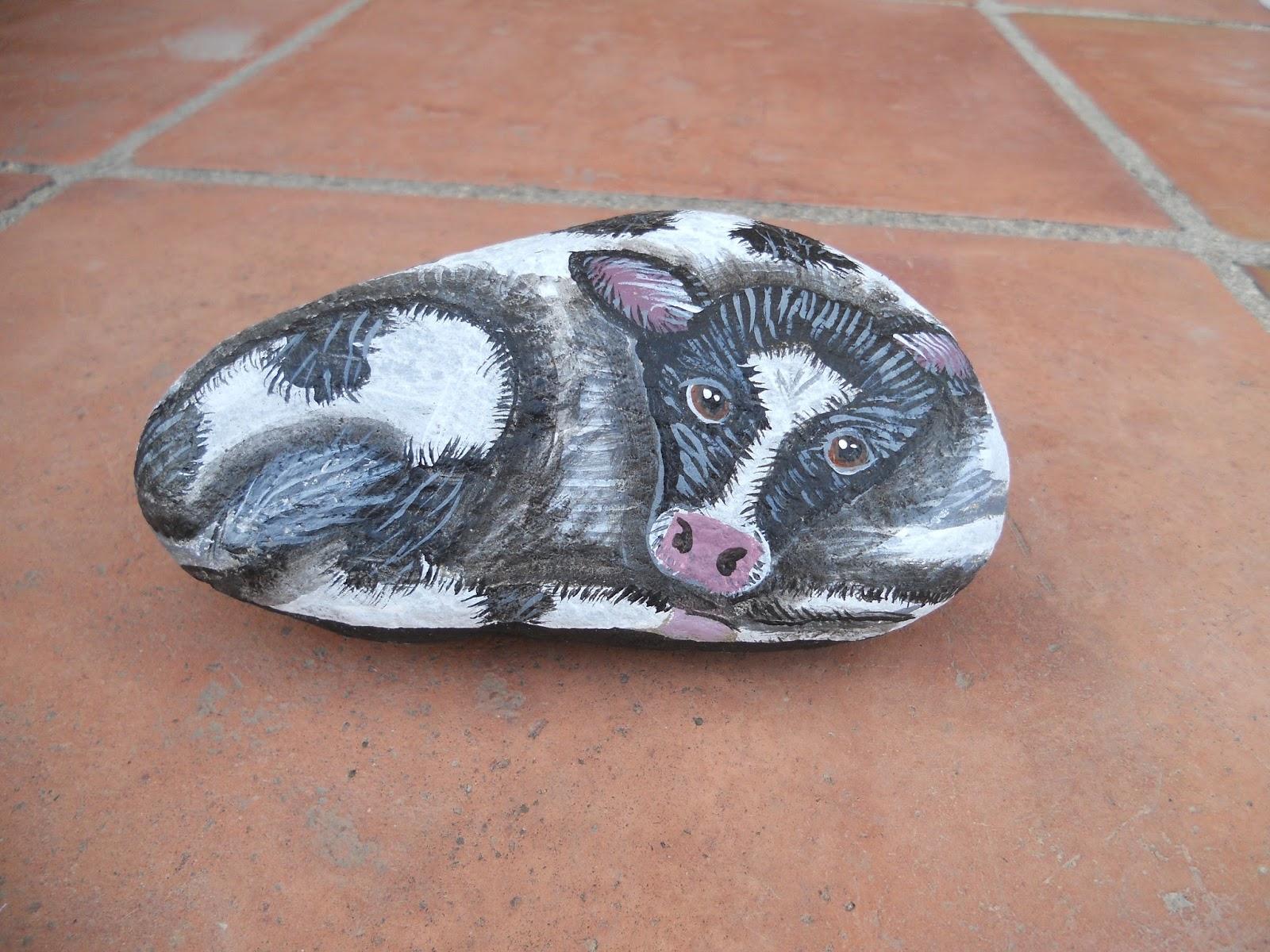 Piedras pintadas a mano piedras pintadas terneros y vacas for Pintura color piedra