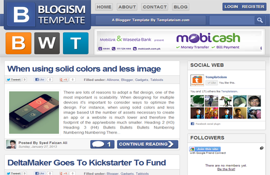 Blogism Blogger Template Large Layout
