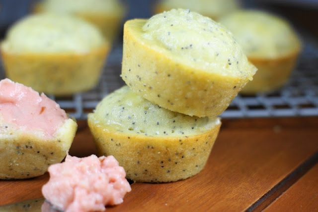 Glazed Poppy Seed Muffins with Strawberry Butter