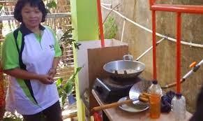Pemanfaatan gas metana untuk memasak.