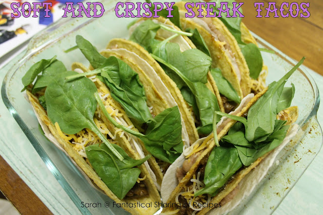 Soft & Crispy Steak Tacos. A hard shell coated with refried beans, wrapped in a soft shell, and stuffed with steak! #manfood #steak #tacos