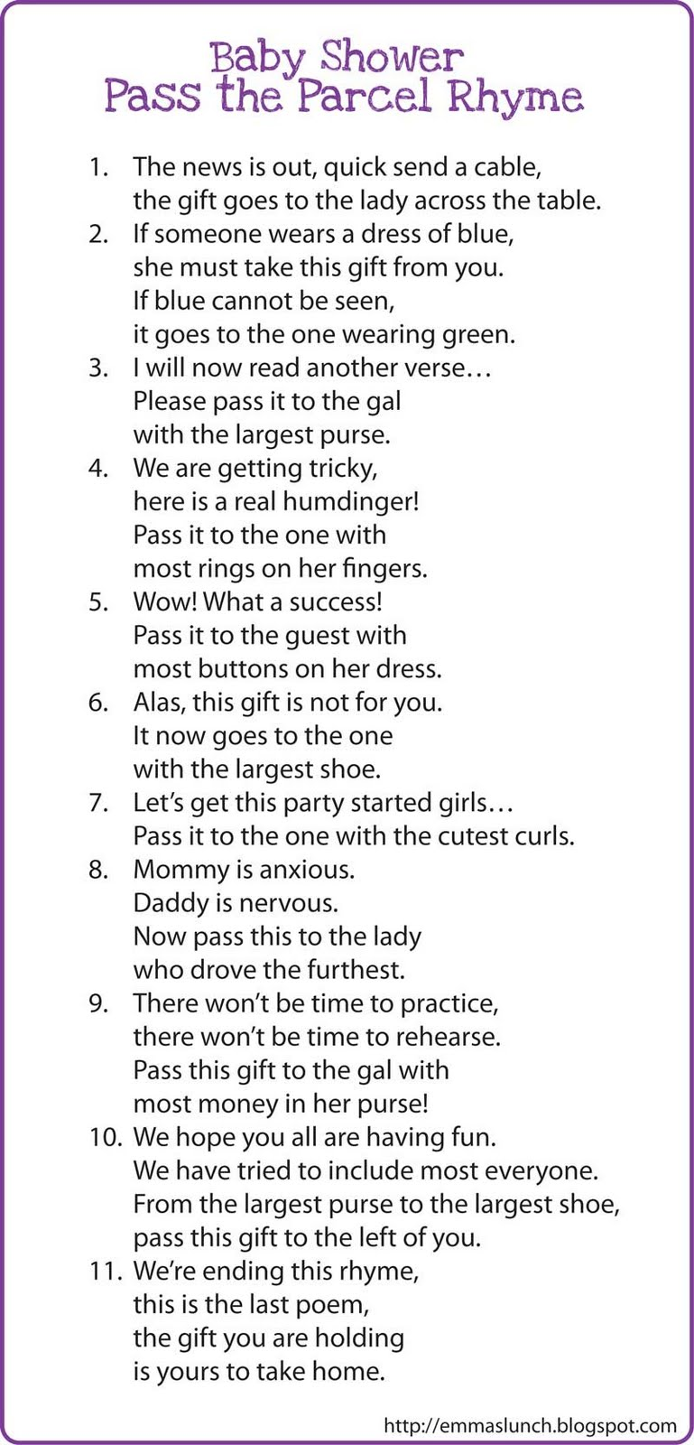 baby shower game pass the gift