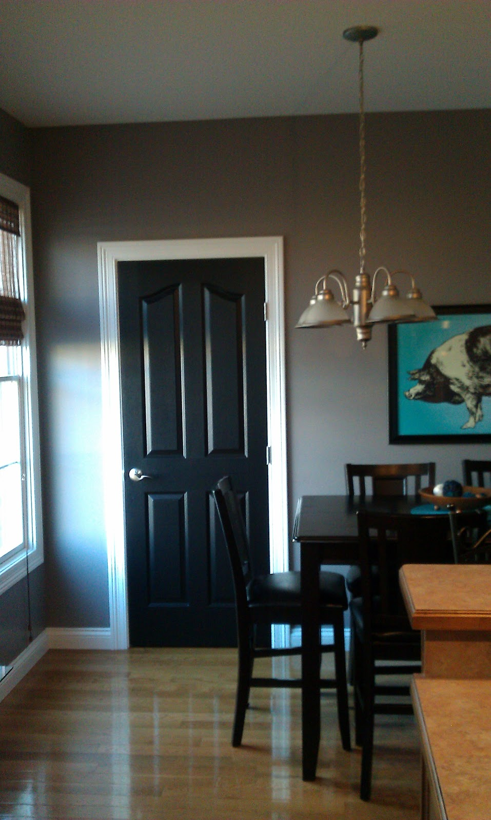 and here 39 s the same space after painting the door black. Black Bedroom Furniture Sets. Home Design Ideas