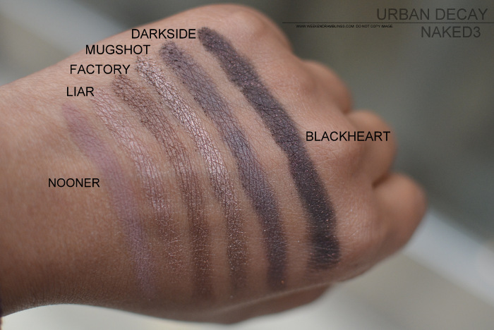Urban Decay Naked3 Eyeshadow Palette Strange Dust Burnout Limit Buzz Trick Nooner Liar Factory Mugshot Darkside Blackheart