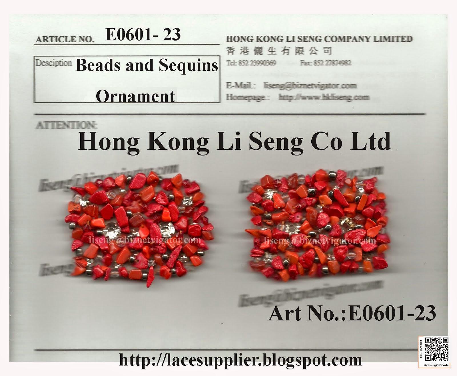 Beads and Sequins Ornament Manufacturer Wholesaler Supplier - Hong Kong Li Seng Co Ltd