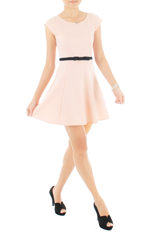 Sweetest Black Bow PETITE Dress - Pink