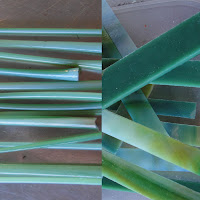 Bullseye Glass in Shades of Green Pulled into Round Lengths for Flower Stems